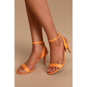 Lulus Orange Ankle Strap Heels Size 7.5